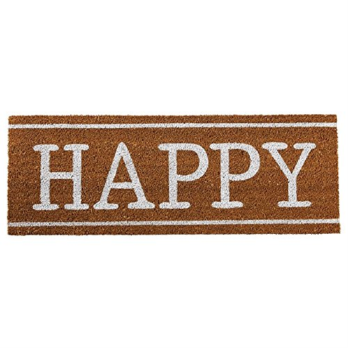 Mud Pie Happy 13 Inches x 36 Inches Coir Doormat Area Rugs (Doormats Long)