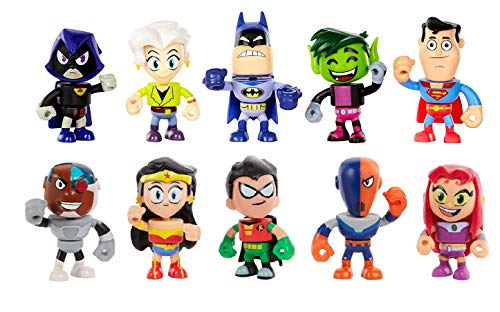 Teen Titans Go to The Movies 10 Pack of Mini Swappable Action Figures Cyborg, Wonder Woman, Robin, Slade, Starfire, Beast Boy, Batman, Superman, Raven, Jade Wilson Mix and Match Parts Toy Collection