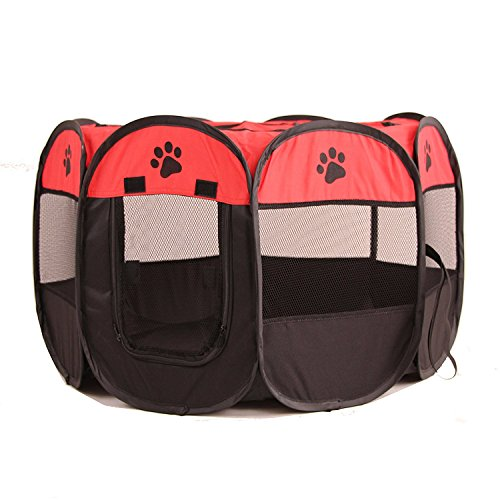 UNFADE MEMORY Portable Foldable Pet Playpen, Indoor/Outdoor, Dog/Cat/Puppy Exercise Pen Kennel, Removable Mesh Shade Cover, Dog pop up Silhouettes pet Pen