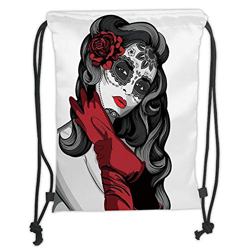 New Fashion Gym Drawstring Backpacks Bags,Skull,Sexy Sugar Skull Lady with Mexican Style Floral Mask Evil Gothic Dead Art,Grey White Black Red Soft Satin,Adjustable String Closure ()