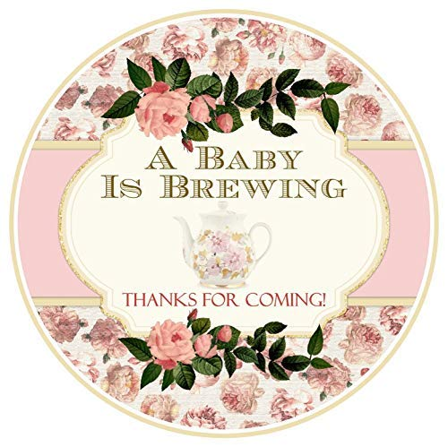 36 Tea Party Baby Shower Labels Pink Roses 2.5 -