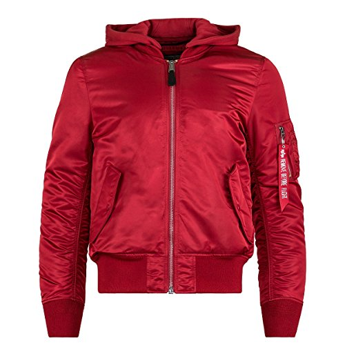 Alpha Industries Mens MA-1 Natus Jacket, Commander Red W/Vin Olive Lin, XL by Alpha Industries