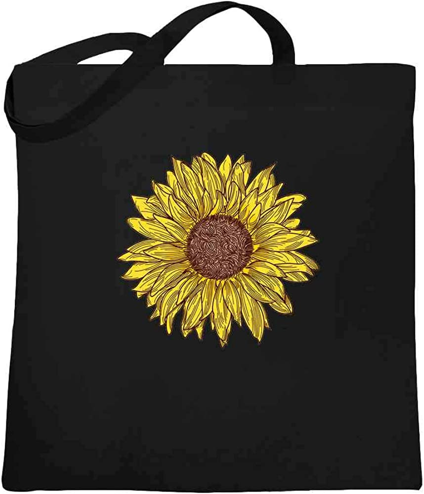 Sunflower Canvas Tote Bag with Zipper Soft Shoulder Bag for Girl Matching Bag Set Cloth Shopping Bag with Pocket Homemade Gift for Women