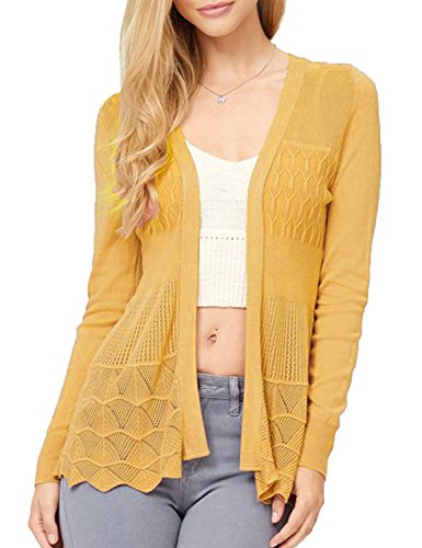 MAYSIX Raiment Plus Size Long Sleeve Lightweight Crochet Knit Sweater Open Front Cardigan For Women MUSTARD 3XL