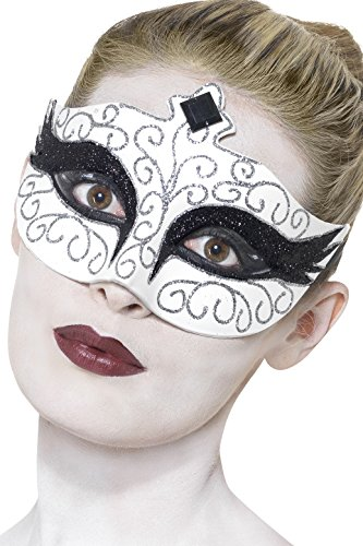 White Swan Halloween Costumes (Smiffy's Women's Gothic Swan Eye mask, White, One Size, 27318)