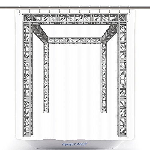 vanfan-Cool Shower Curtains Steel Truss Girder Construction D Render Isolated On White Polyester Bathroom Shower Curtain Set With Hooks(70 x 84 (Vintage Truss Rod)