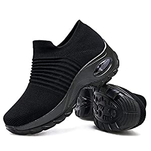 Women's Walking Shoes Sock Sneakers – Mesh Slip On Air Cushion Lady Girls Modern Jazz Dance Easy Shoes Platform Loafers