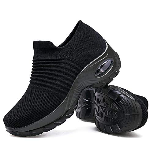 - Women's Walking Shoes Sock Sneakers - Mesh Slip On Air Cushion Lady Girls Modern Jazz Dance Easy Shoes Platform Loafers Pure Black,11