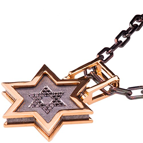 Solid 18K White Gold and Black Diamonds Star of David Pendant For Men Pave Necklace Black Two Tone David Shield Kabbalah Judaica Steampunk - Gold Diamond 18k Star White Pendant
