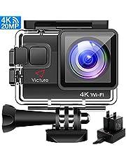Victure 4K Action Cam Wi-Fi 20MP Ultra HD Camera Impermeabile 40M Immersione Sott'Acqua Camera 170° Grandangolare 2.0 Pollici Due 1050mAh Batterie/Caricabatteria/Kit Accessori per Ciclismo Nuoto