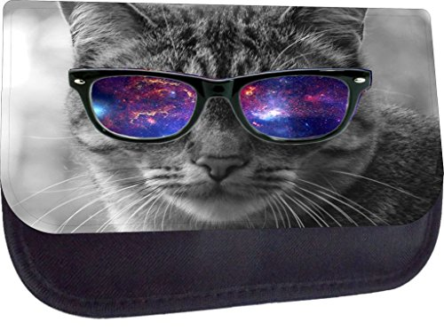 Grey Kitten with Galaxy Glasses - Rosie Parker Inc. TM Pencil Case Made in the - Rosie Sunglasses