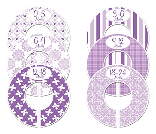 C134 Baby Girl Nursery Clothing Closet Size Dividers Purple Set of 6 Fits 1.25 Inch Rod