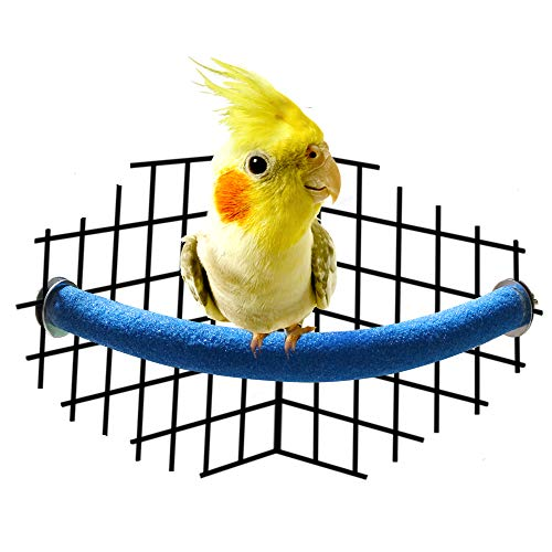 RYPET Parrot Perch Rough-surfaced - Quartz Sands Corner Bird Cage Perches for Small to Medium Bird, Arc-Shaped Small (Cage Medium Corner Bird)