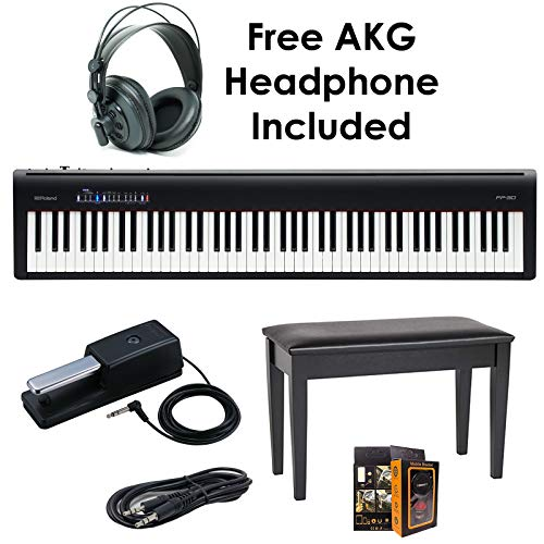 Roland PKG FP-30-BK 88-Key Digital Piano – Package Bundle with Roland DP-10 Damper Pedal, DBP-500CBD Duet Piano Bench, with Free Black Headphones, Aux Cable & Mobile Bracket