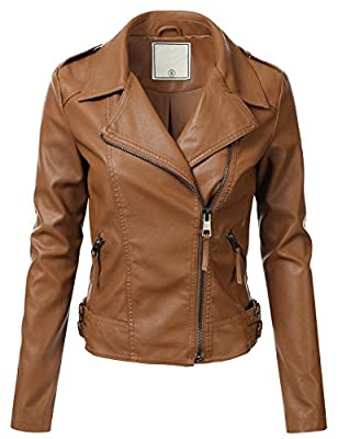 FLORIA Women Faux Leather Jacket w/ Zipper Closure (6 Colors Available)