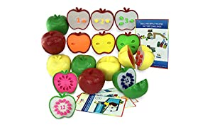 Skoolzy Counting Toddler Games - Apple STEM Learning Toys for 3 Year olds to Ages 6 - Fine Motor Skills Color Sorting Montessori Toys for Toddlers Gifts - Educational Math Activities
