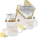 Set of 12 Thank You Tea & Honey Gift Mug/Best Thank you Gift Mug/Employee Appreciation Gifts/Admin Office Gifts/Teacher Thanks/Corporate Thank You Mugs/Business Mugs