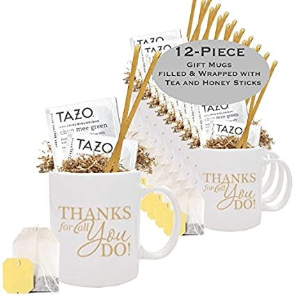 Set Of 12 Thank You Tea Honey Gift Mug Best Thank You