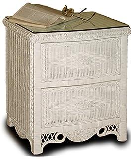 Regency 2 Drawer White Wicker Nightstand Bedroom Furniture
