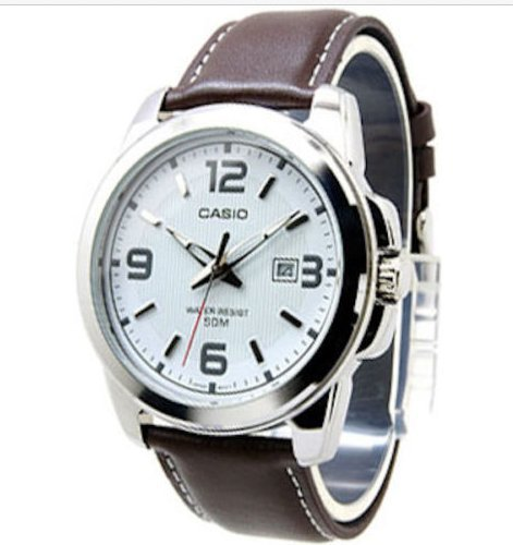 Casio Mtp-1314l-7a Men Classic Analog Brown Leather White Dial ()