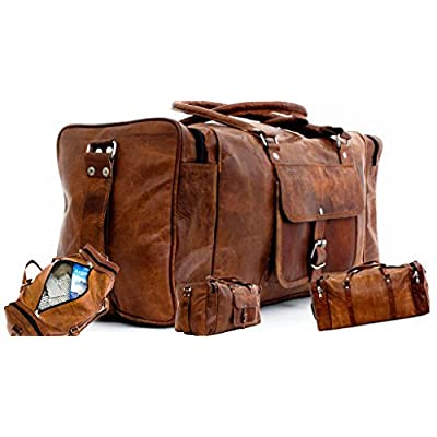 24 inch Men's Leather Duffel Travel Gym Overnight Weekend Bag One Size Brown By DLC Global