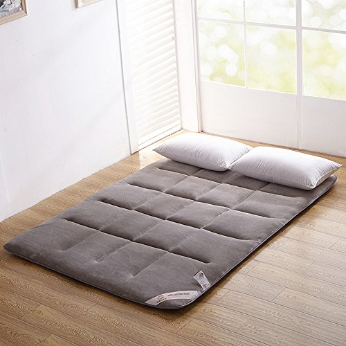 Colorfulmart Gray Grey Flannel Japanese Floor Futon Mattress Sleeping Mattress Tatami Mat Japanese Bed Roll Foldable Roll Up Mattress Rolling Bed Shikibuton Queen Size