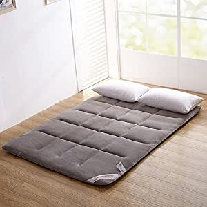 ColorfulMart Gray Grey Flannel Japanese Floor Futon Mattress. Sleeping Pad, Tatami Mat, Japanese Bed Roll, Foldable Roll Up Mattress, Futon Memory Foam, Rolling Bed Shikibuton. Queen Size