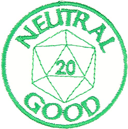 D&D Alignment Neutral Good Patch Iron On Applique - Kelly Green, White - 2.5