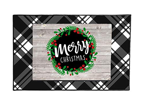 (Qualtry Personalized Christmas Door Decor, Outside Door Mats - Unique Merry Christmas Rugs, Great Presents for Family (Layered Doormat, Christmas Wreath Design))