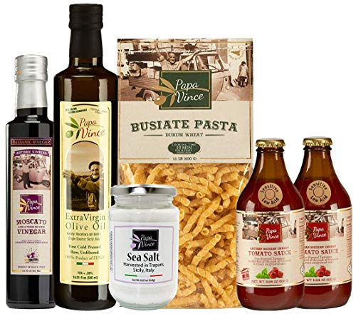 (Papa Vince Gourmet Food Mediterranean - farm fresh gift set from artisans in Sicily, Italy. Extra Virgin Olive Oil, Balsamic Vinegar, Ancient Grain Pasta, Cherry Tomato Sauce)