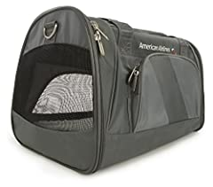 The Sherpa American Airlines Duffle is a lightweight, sporty carrier that features the new AA logo and on-trend charcoal color. Perfect for traveling by plane or car, for a trip or just to the vet. Patented spring wire frame allows the rear e...