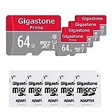Gigastone 64GB Micro SD Card 5-Pack Micro SDXC U1 C10 with Mini Case