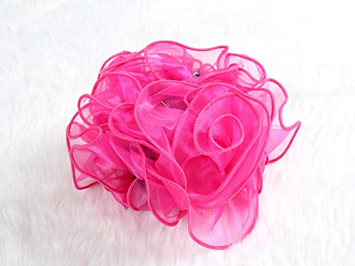 [Extra Large Size Chiffon Rose Bow Hair Claw Clip (Pink)] (Indian Mens Braid Adult Wig)