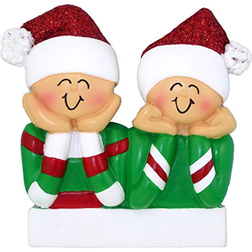 Personalized Head in Hands Family of 2 Christmas Ornament for Tree 2018 - Couple Twins Friend Sibling Santa Hat - Boy Girl Gender Neutral Snow Winter Tradition - Free Customization by Elves (Two) (Girl 2 Ornament)