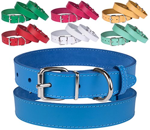BronzeDog Leather Dog Collar, Puppy Handmade Genuine Leather Collar for Dogs, Small Medium Large, Pink Red Blue Green Turquoise White Yellow (Neck Size 11