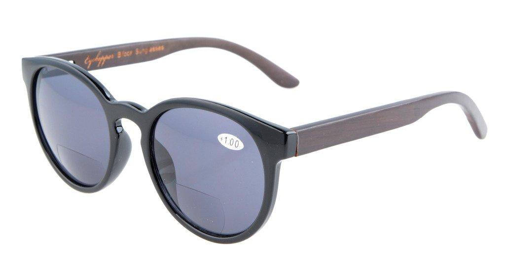Eyekepper Gafas de Sol Ovales Bifocales con Patas de Madera y Bisagra de Resorte para Mujer Negro +3...