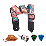 Ukulele Guitar Adjustable Strap Soft Cotton Bohemian Style Guitar Strap with Leather Ends Nail button ,Pick Holder ,Picks as Gifts (Blue-Style 1)