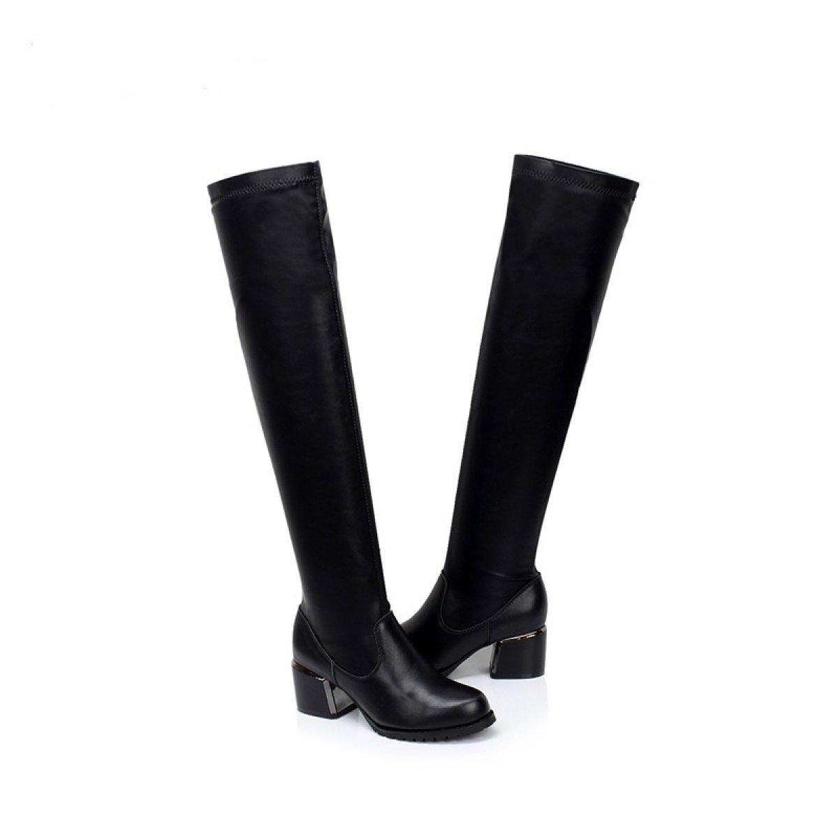 Kniestiefel Leder Stretch Kniestiefel Rau Mit Seitlicher High Heel Seitlicher Mit Reißverschluss Stiefel Fashion Stiefel ea13fd