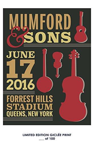 Reprint Concert Poster - RARE POSTER thick concert MUMFORD & SONS 2016 music REPRINT #'d/100!! 12x18