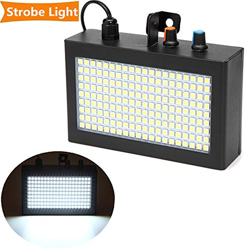 Strobe Light,SOLMORE 180LEDs 35W Party Lights Super Bright Flash Stage Lighting Disco DJ Lights, Auto Sound Activated Adjustable Flash Speed Control for Halloween Parties Wedding KTV Pub White ()