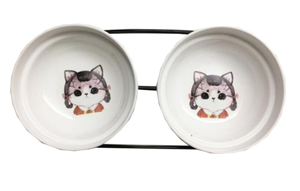 Little Double Bowls Set Ceramic Feeding Pot Pet Bowls Dog Bowls Cat Bowls for Food & Water S Size(C 01)