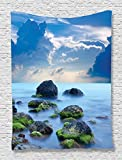Ambesonne Blue Tapestry Spa Decor by, Sea Stones and Mystic Seaside Caribbean Photo Print, Bedroom Living Kids Girls Boys Room Dorm Accessories Wall Hanging Tapestry, Slate Grey Sky Blue Cyan White