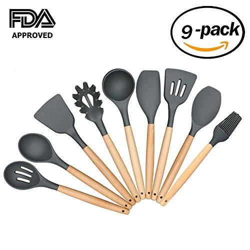 Premium Silicone Kitchen Utensils 9-Piece Set Spatula - Nonstick - Kitchen Tools and Gadgets with Wood Handle - Silicone (Silicone Wood Spatula)