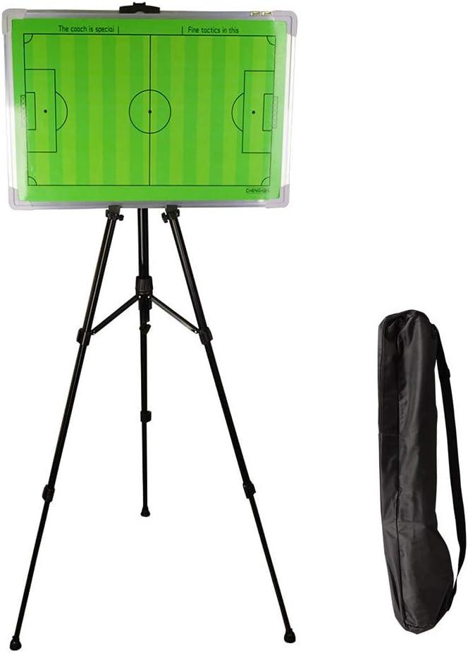 サッカーコーチボード、ステンレススチール両面磁気デザイントレーニングプランボードとスタンド、w/異なるカラーペンとホワイトボードワイプ