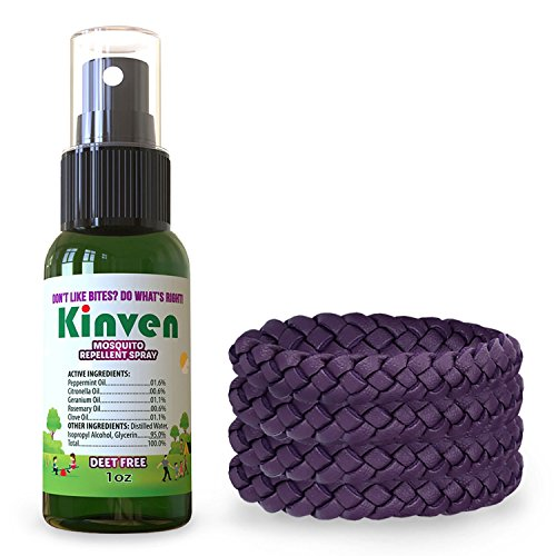 Kinven Insect Repellant Bundle - Mosquito Wristband Repellent & Spray, Waterproof, Natural, DEET-free, Indoor & Outdoor Protection for Adults & Kids (1oz spray bottle 4 bracelets, Purple)