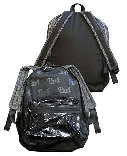 b19286310ef9 Image Unavailable. Image not available for. Color  NWT Victoria s Secret  Pink Sequin Bling Padded Laptop Sleeve Backpack School Tote Book Bag Black