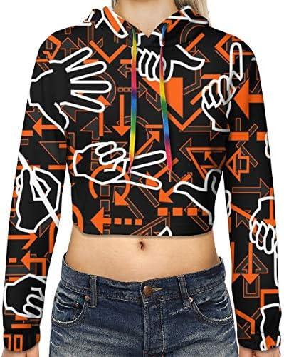 ハンドジェスチャーと矢印パターンの女性のカジュアルな長袖カラーブロックプルオーバースウェットシャツクロップトップスポーツジムオフィススクール