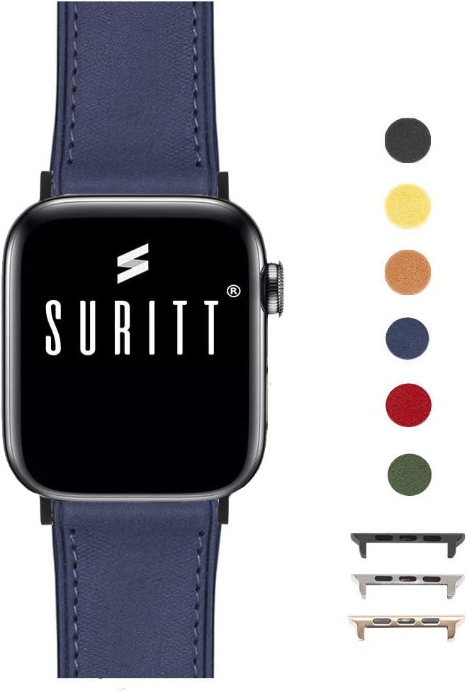Suritt ® Correa para Apple Watch de Piel Rio (6 Colores Disponibles). 3 Colores de Hebilla y Adaptador para Elegir (Negro - Plata - Oro)(Series 1, 2, 3, 4 y 5). (42mm / 44mm, Midnight Blue/Black)