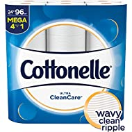Cottonelle Ultra CleanCare Toilet Paper, Strong Biodegradable Bath Tissue, Septic-Safe, 24 Mega Rolls