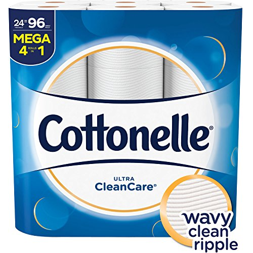 Cottonelle Ultra CleanCare Toilet Paper, Strong Bath Tissue, Septic-Safe, 24 Mega Rolls ()